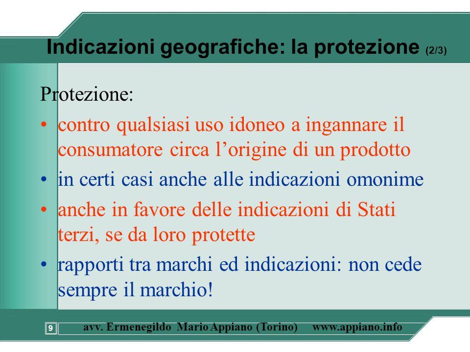 9 avv. Ermenegildo Mario Appiano (Torino) www.appiano.info Indicazioni geografiche: la protezione (2/3) Protezione: contro qualsiasi uso idoneo a inga