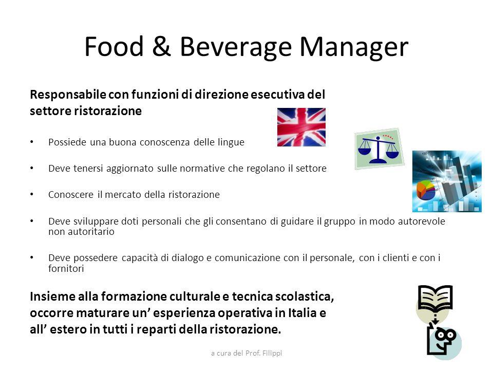 a cura del Prof. Filippi Food & Beverage Manager Responsabile con funzioni di direzione esecutiva del settore ristorazione Possiede una buona conoscen