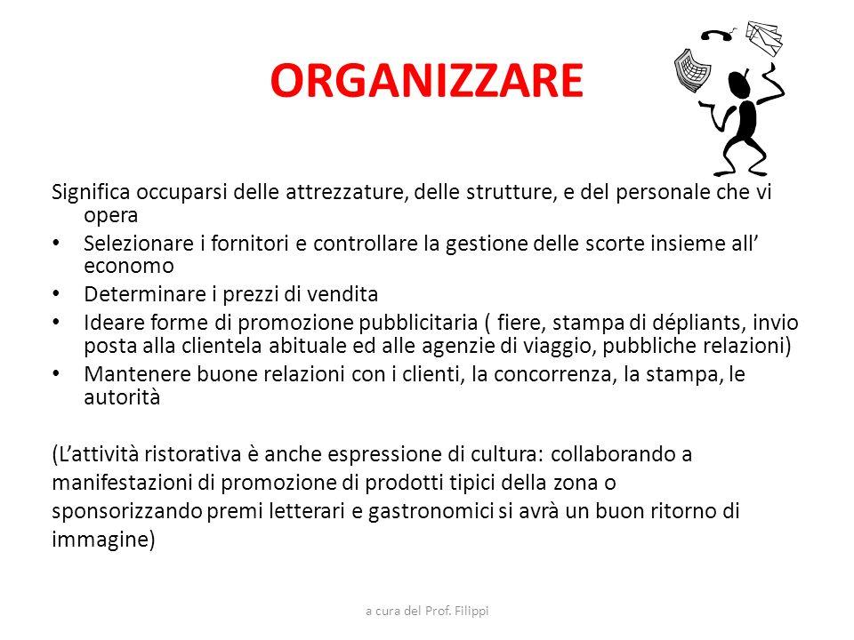 a cura del Prof. Filippi ORGANIZZARE Significa occuparsi delle attrezzature, delle strutture, e del personale che vi opera Selezionare i fornitori e c