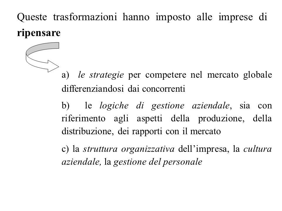 Queste trasformazioni hanno imposto alle imprese di ripensare a) le strategie per competere nel mercato globale differenziandosi dai concorrenti b) le