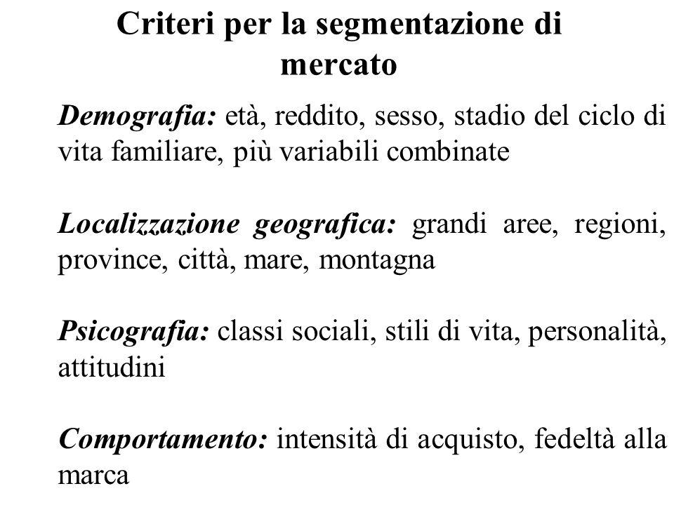 Criteri per la segmentazione di mercato Demografia: età, reddito, sesso, stadio del ciclo di vita familiare, più variabili combinate Localizzazione ge