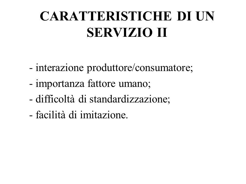 CARATTERISTICHE DI UN SERVIZIO II - interazione produttore/consumatore; - importanza fattore umano; - difficoltà di standardizzazione; - facilità di i