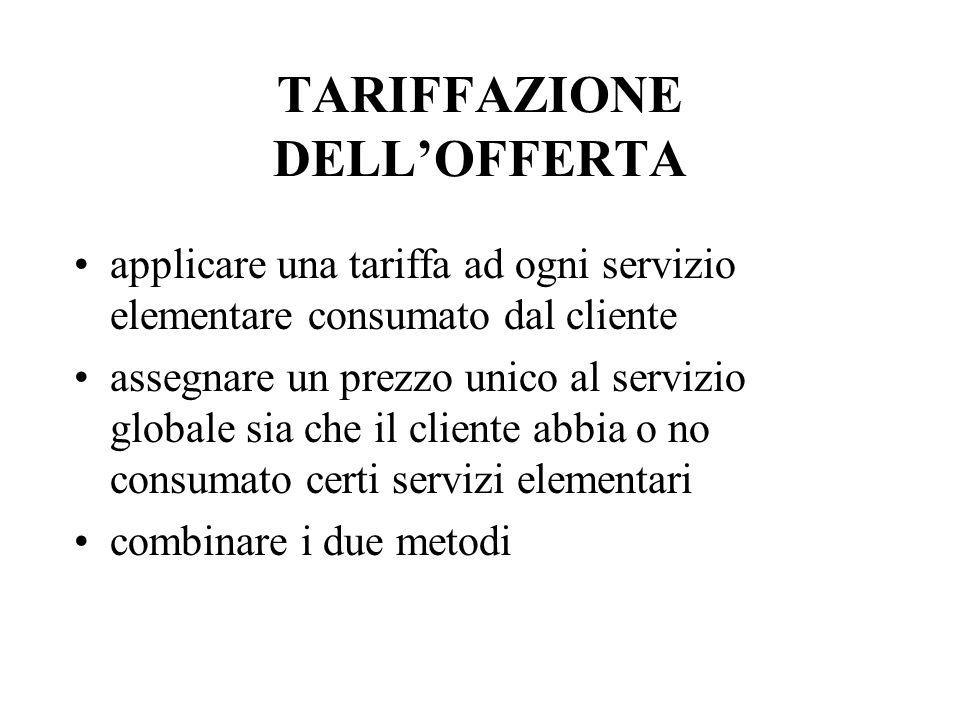 TARIFFAZIONE DELLOFFERTA applicare una tariffa ad ogni servizio elementare consumato dal cliente assegnare un prezzo unico al servizio globale sia che