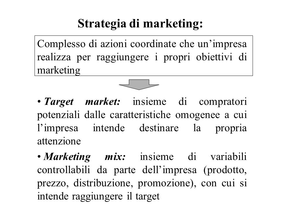 Strategia di marketing: Complesso di azioni coordinate che unimpresa realizza per raggiungere i propri obiettivi di marketing Target market: insieme d