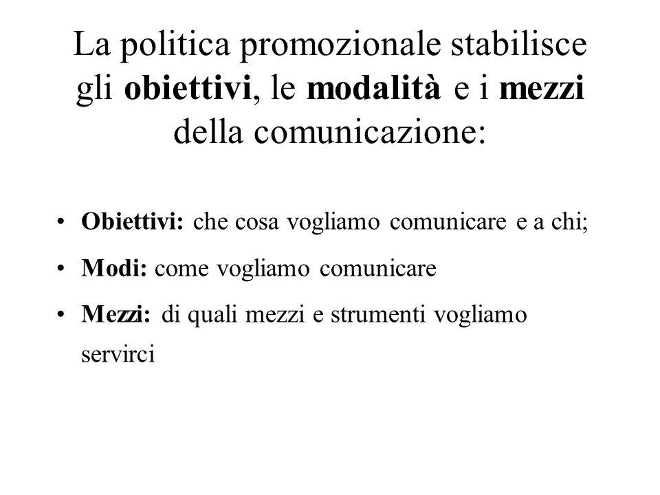 La politica promozionale stabilisce gli obiettivi, le modalità e i mezzi della comunicazione: Obiettivi: che cosa vogliamo comunicare e a chi; Modi: c