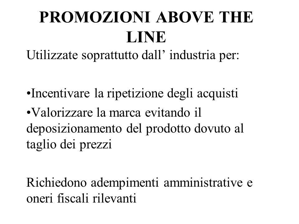 PROMOZIONI ABOVE THE LINE Utilizzate soprattutto dall industria per: Incentivare la ripetizione degli acquisti Valorizzare la marca evitando il deposi
