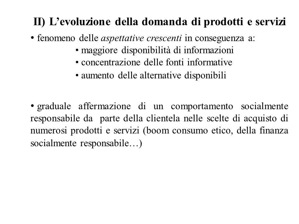 II) Levoluzione della domanda di prodotti e servizi fenomeno delle aspettative crescenti in conseguenza a: maggiore disponibilità di informazioni conc