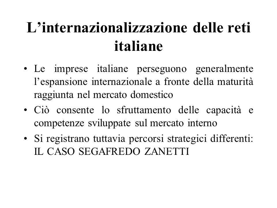 Linternazionalizzazione delle reti italiane Le imprese italiane perseguono generalmente lespansione internazionale a fronte della maturità raggiunta n
