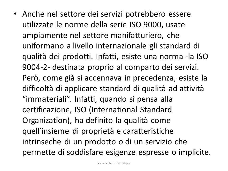 Anche nel settore dei servizi potrebbero essere utilizzate le norme della serie ISO 9000, usate ampiamente nel settore manifatturiero, che uniformano