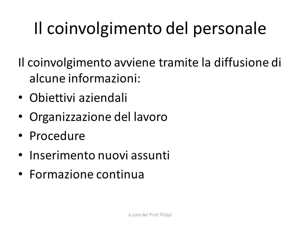 a cura del Prof. Filippi Il coinvolgimento del personale Il coinvolgimento avviene tramite la diffusione di alcune informazioni: Obiettivi aziendali O