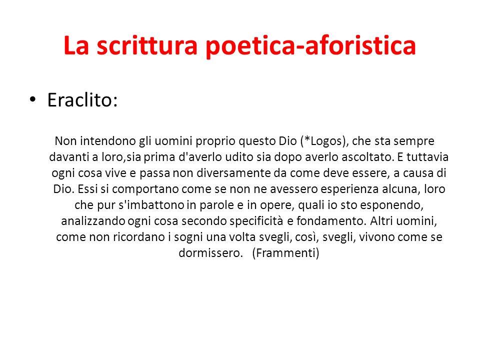 La scrittura poetica-aforistica Eraclito: Non intendono gli uomini proprio questo Dio (*Logos), che sta sempre davanti a loro,sia prima d'averlo udito
