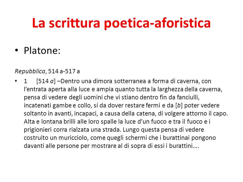La scrittura poetica-aforistica Platone: Repubblica, 514 a-517 a 1 [514 a] –Dentro una dimora sotterranea a forma di caverna, con lentrata aperta alla