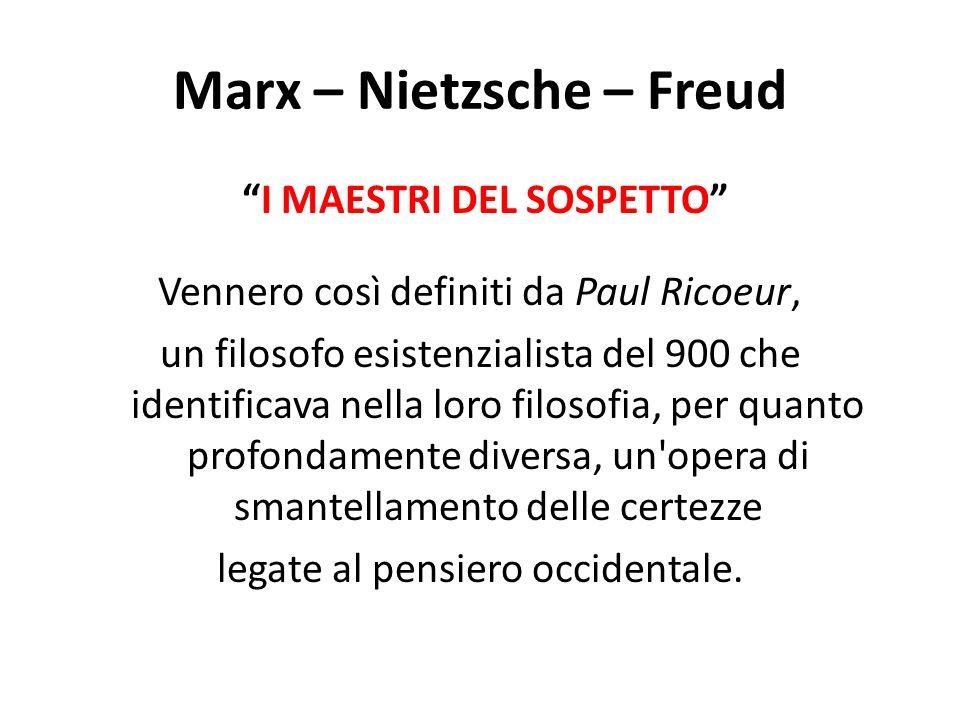 I MAESTRI DEL SOSPETTO Vennero così definiti da Paul Ricoeur, un filosofo esistenzialista del 900 che identificava nella loro filosofia, per quanto pr