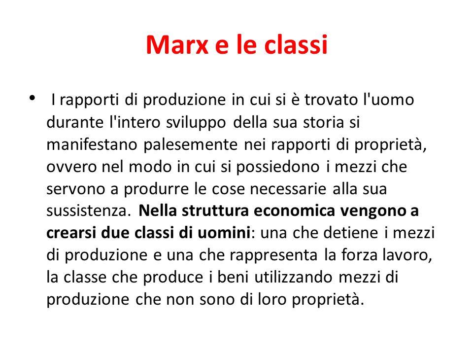 Marx e le classi I rapporti di produzione in cui si è trovato l'uomo durante l'intero sviluppo della sua storia si manifestano palesemente nei rapport