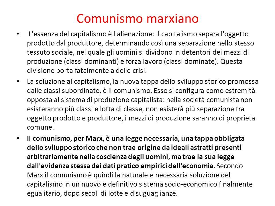 Comunismo marxiano L'essenza del capitalismo è l'alienazione: il capitalismo separa l'oggetto prodotto dal produttore, determinando così una separazio