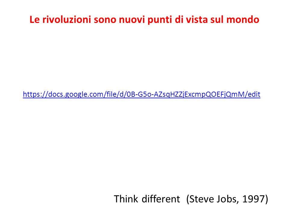 Le rivoluzioni sono nuovi punti di vista sul mondo https://docs.google.com/file/d/0B-G5o-AZsqHZZjExcmpQOEFjQmM/edit Think different (Steve Jobs, 1997)
