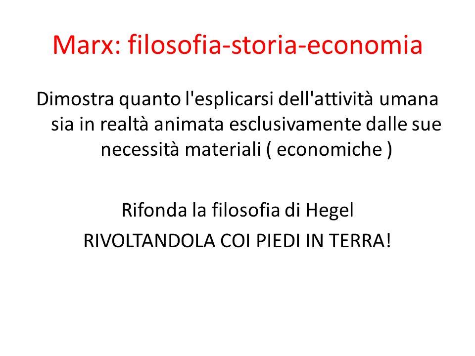 Marx: filosofia-storia-economia Dimostra quanto l'esplicarsi dell'attività umana sia in realtà animata esclusivamente dalle sue necessità materiali (