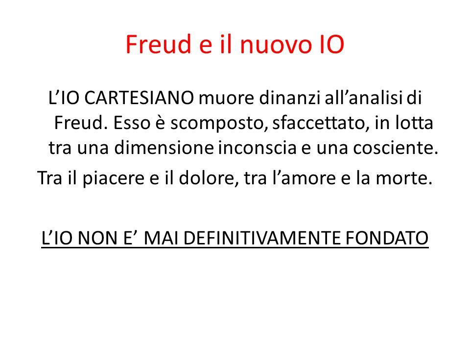 Freud e il nuovo IO LIO CARTESIANO muore dinanzi allanalisi di Freud. Esso è scomposto, sfaccettato, in lotta tra una dimensione inconscia e una cosci