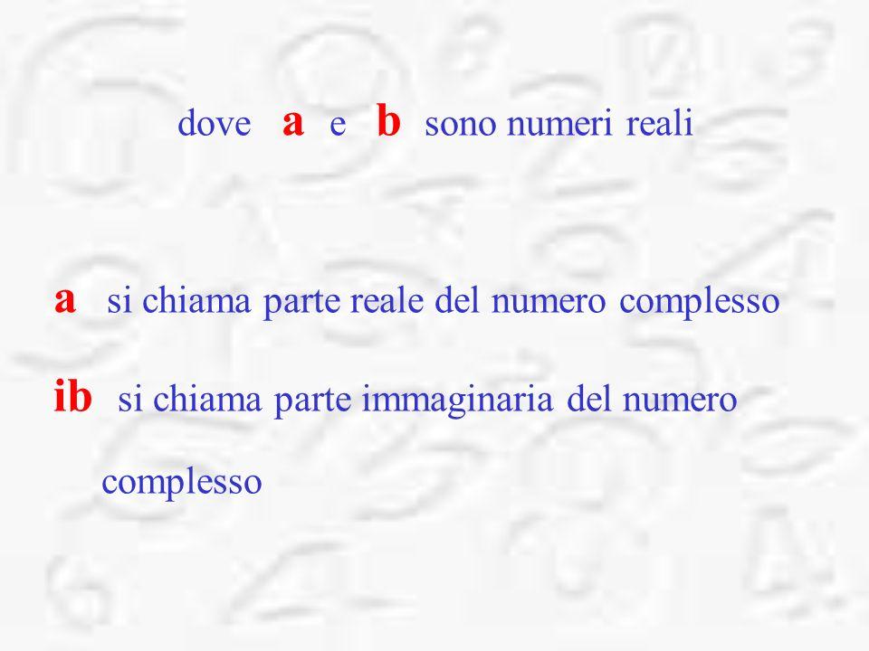 dove a e b sono numeri reali a si chiama parte reale del numero complesso ib si chiama parte immaginaria del numero complesso