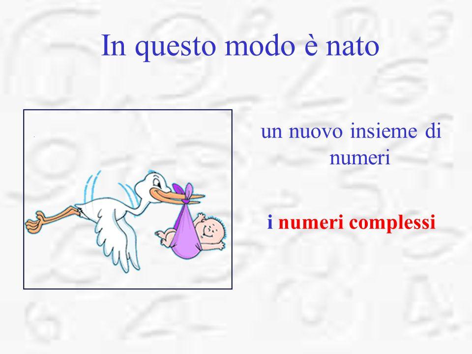 In questo modo è nato un nuovo insieme di numeri i numeri complessi
