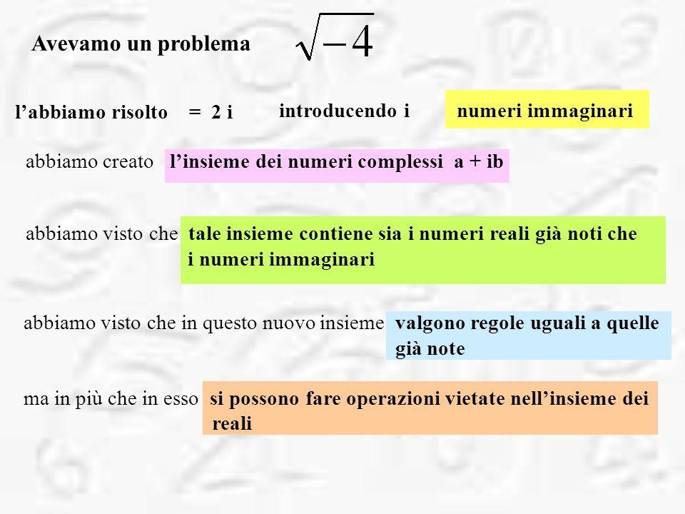 introducendo i numeri immaginari Avevamo un problema labbiamo risolto = 2 i abbiamo creato linsieme dei numeri complessi a + ib abbiamo visto che tale insieme contiene sia i numeri reali già noti che i numeri immaginari abbiamo visto che in questo nuovo insieme valgono regole uguali a quelle già note ma in più che in esso si possono fare operazioni vietate nellinsieme dei reali