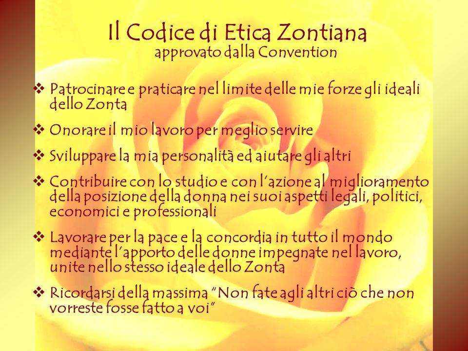 Il Codice di Etica Zontiana approvato dalla Convention Patrocinare e praticare nel limite delle mie forze gli ideali dello Zonta Onorare il mio lavoro