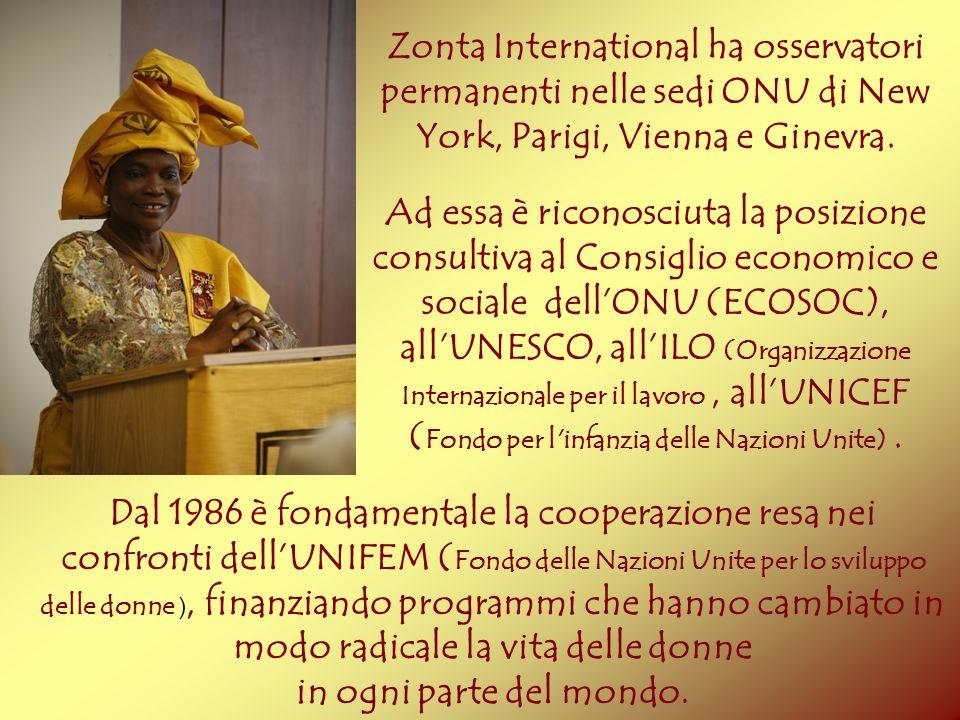 Zonta International ha osservatori permanenti nelle sedi ONU di New York, Parigi, Vienna e Ginevra. Ad essa è riconosciuta la posizione consultiva al