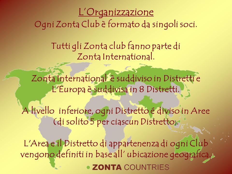 Ogni Zonta Club è formato da singoli soci. Tutti gli Zonta club fanno parte di Zonta International. Zonta International è suddiviso in Distretti e L'E