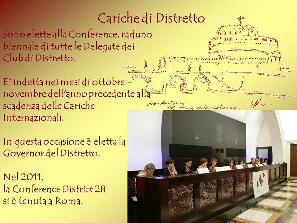 Cariche di Distretto Sono elette alla Conference, raduno biennale di tutte le Delegate dei Club di Distretto. E' indetta nei mesi di ottobre - novembr