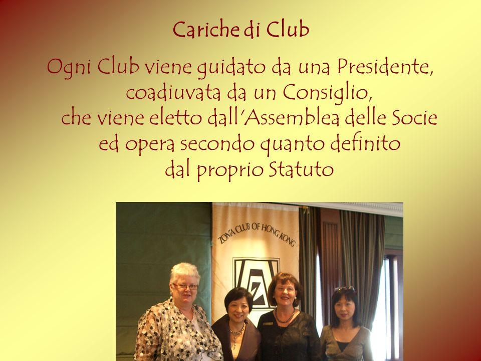 Cariche di Club Ogni Club viene guidato da una Presidente, coadiuvata da un Consiglio, che viene eletto dall'Assemblea delle Socie ed opera secondo qu