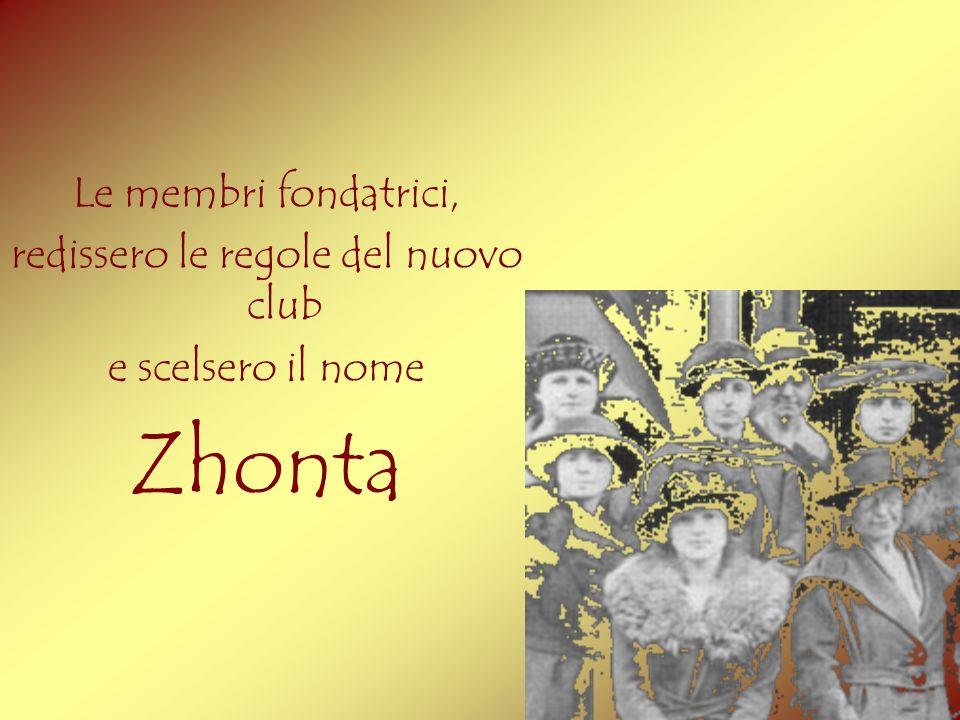 Le membri fondatrici, redissero le regole del nuovo club e scelsero il nome Zhonta