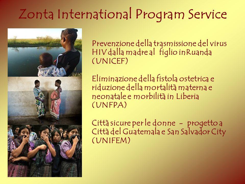 Zonta International Program Service Prevenzione della trasmissione del virus HIV dalla madre al figlio inRuanda (UNICEF) Eliminazione della fistola os