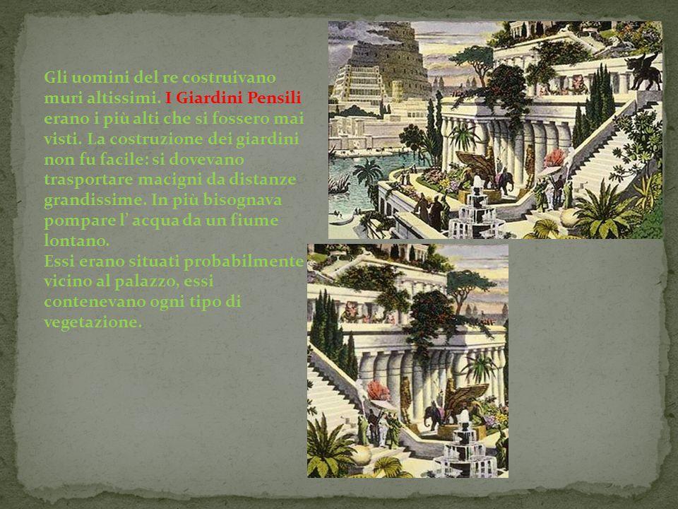 Gli uomini del re costruivano muri altissimi. I Giardini Pensili erano i più alti che si fossero mai visti. La costruzione dei giardini non fu facile: