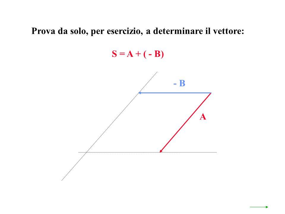 Prova da solo, per esercizio, a determinare il vettore: S = A + ( - B) A - B
