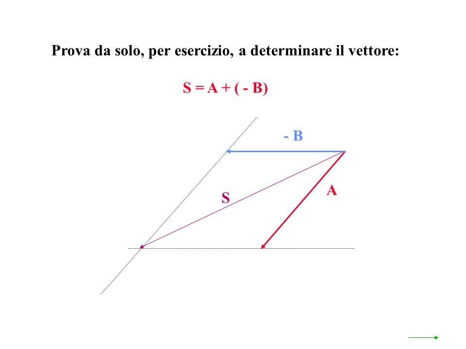 Prova da solo, per esercizio, a determinare il vettore: S = A + ( - B) A - B S