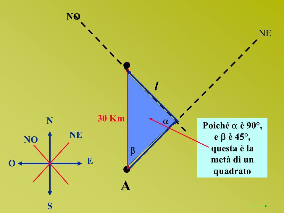30 Km A NO N O S E NE NO NE Poiché è 90°, e è 45°, questa è la metà di un quadrato l