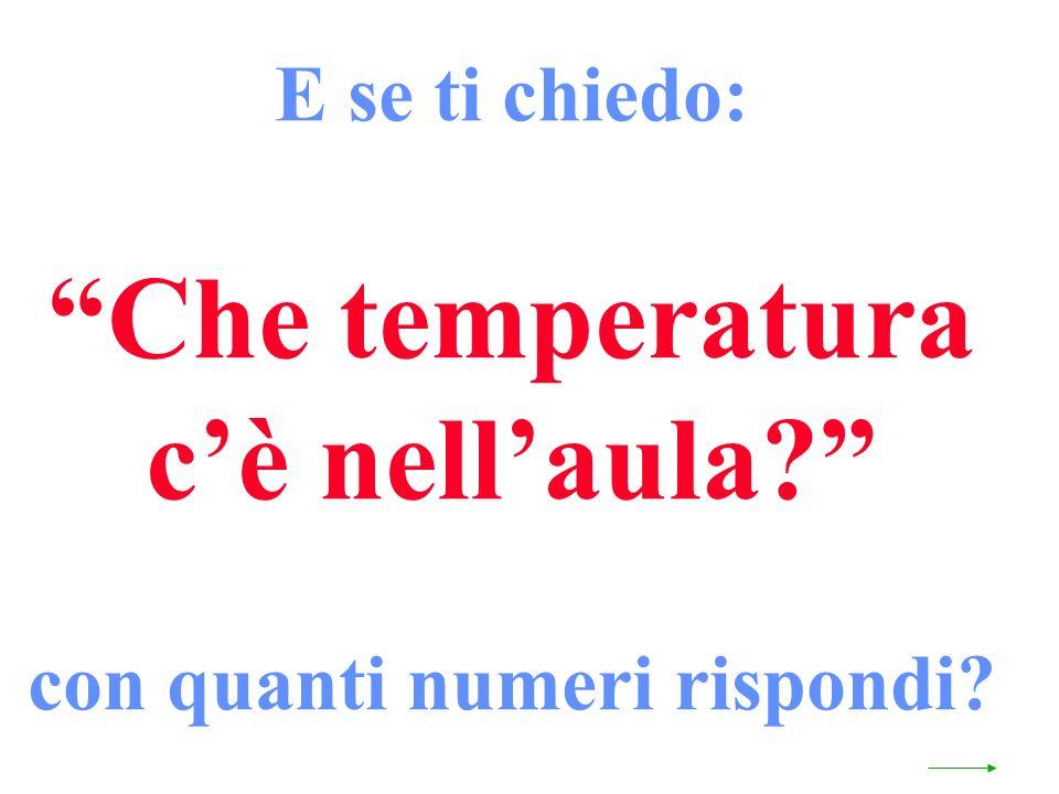 E se ti chiedo: Che temperatura cè nellaula? con quanti numeri rispondi?