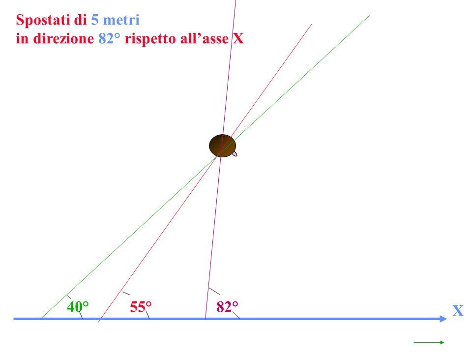 55°82°40° Spostati di 5 metri in direzione 82° rispetto allasse X X