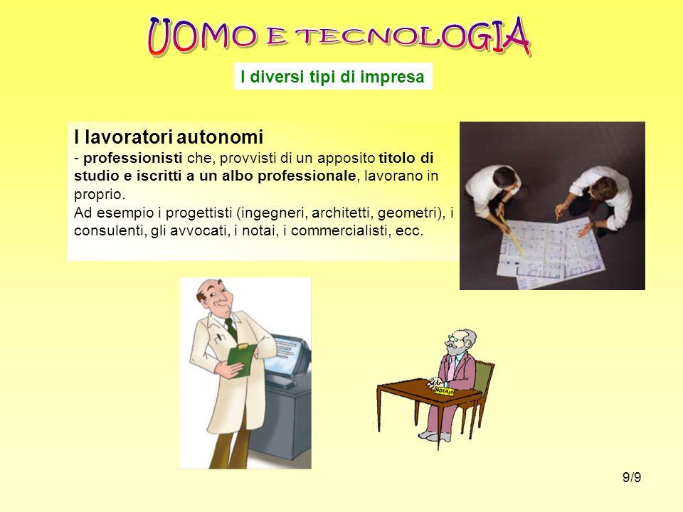 I diversi tipi di impresa I lavoratori autonomi - professionisti che, provvisti di un apposito titolo di studio e iscritti a un albo professionale, la