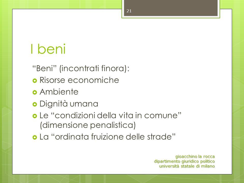 I beni Beni (incontrati finora): Risorse economiche Ambiente Dignità umana Le condizioni della vita in comune (dimensione penalistica) La ordinata fru