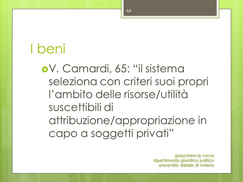 I beni V. Camardi, 65: il sistema seleziona con criteri suoi propri lambito delle risorse/utilità suscettibili di attribuzione/appropriazione in capo