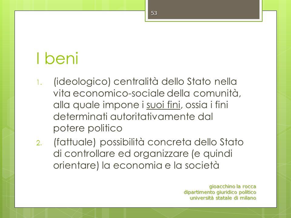 I beni 1. (ideologico) centralità dello Stato nella vita economico-sociale della comunità, alla quale impone i suoi fini, ossia i fini determinati aut