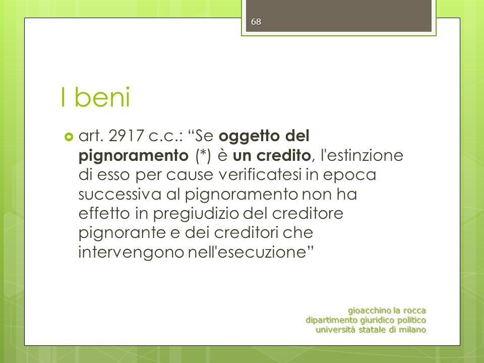 I beni art. 2917 c.c.: Se oggetto del pignoramento (*) è un credito, l'estinzione di esso per cause verificatesi in epoca successiva al pignoramento n