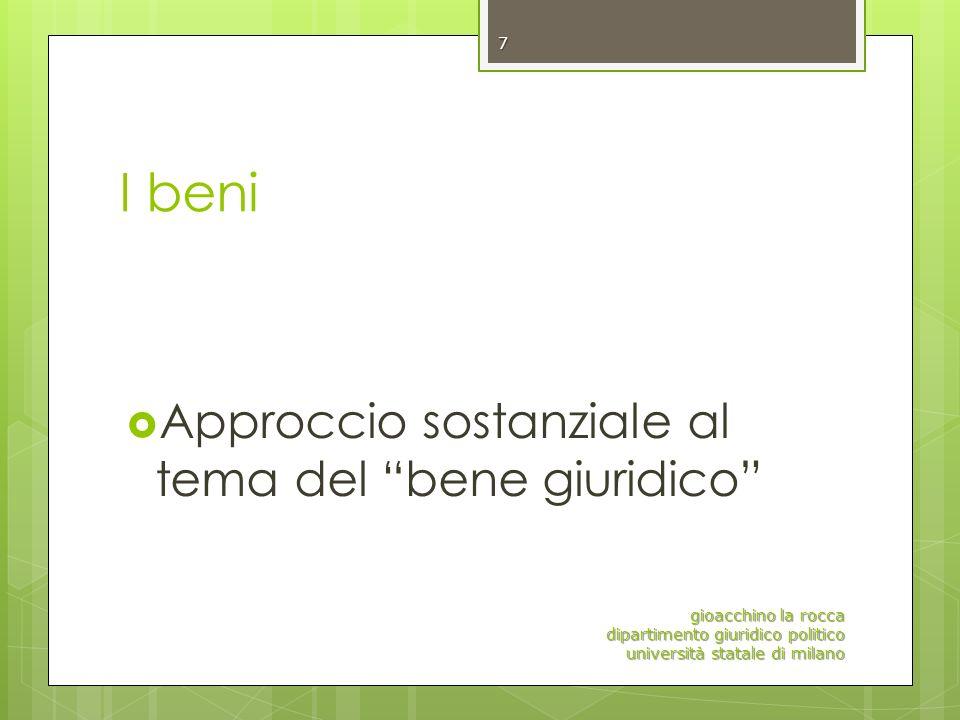 I beni Approccio sostanziale al tema del bene giuridico gioacchino la rocca dipartimento giuridico politico università statale di milano 7