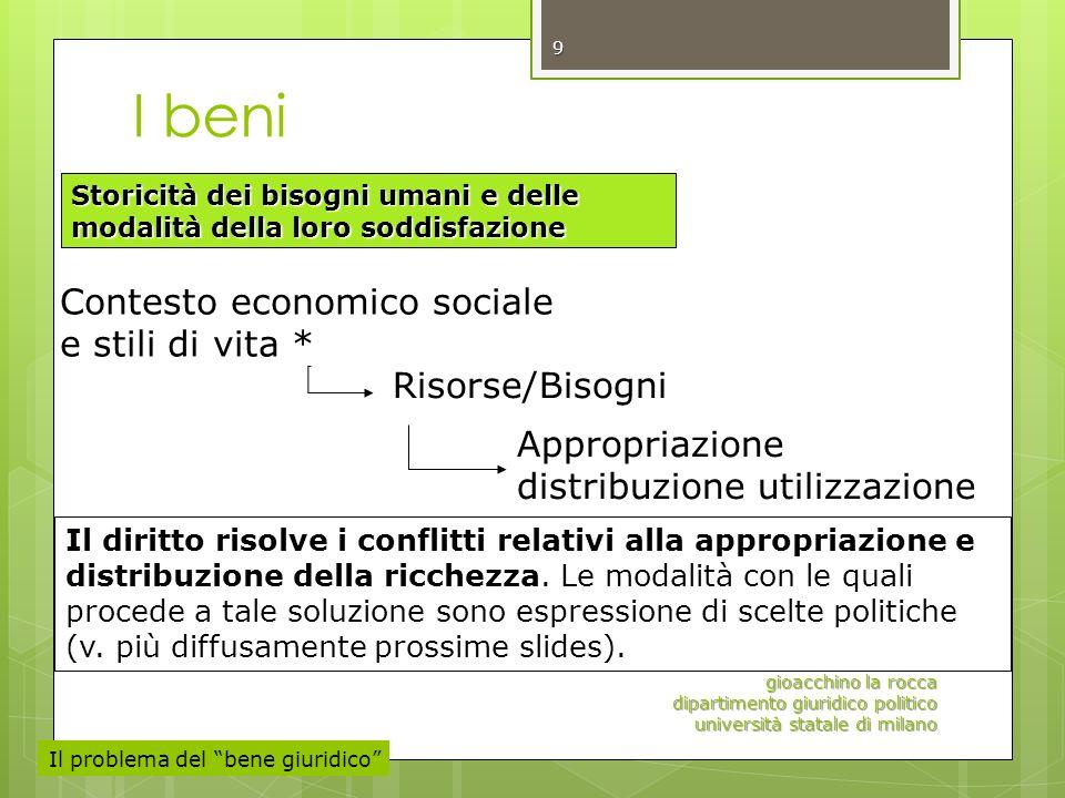 I beni gioacchino la rocca dipartimento giuridico politico università statale di milano 9 Risorse/Bisogni Contesto economico sociale e stili di vita *