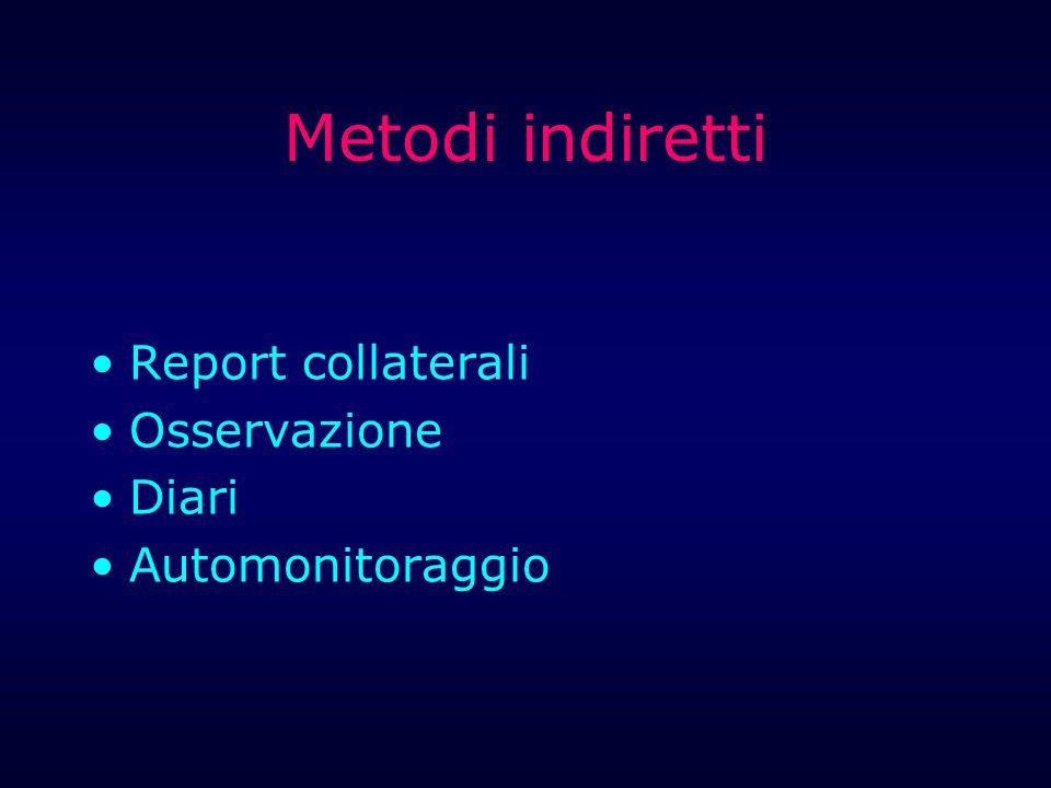 Metodi indiretti Report collaterali Osservazione Diari Automonitoraggio
