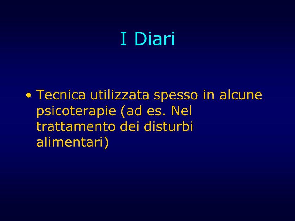 I Diari Tecnica utilizzata spesso in alcune psicoterapie (ad es. Nel trattamento dei disturbi alimentari)
