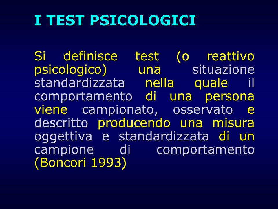 I TEST PSICOLOGICI Si definisce test (o reattivo psicologico) una situazione standardizzata nella quale il comportamento di una persona viene campiona