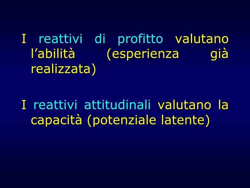 I reattivi di profitto valutano labilità (esperienza già realizzata) I reattivi attitudinali valutano la capacità (potenziale latente)
