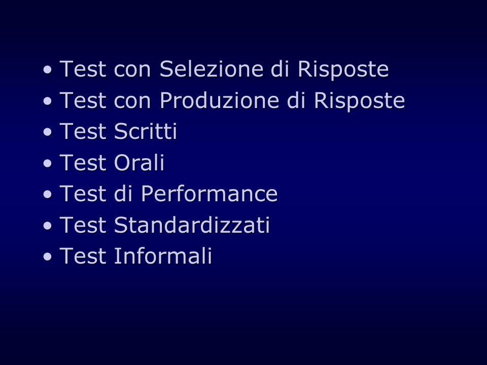 Test con Selezione di RisposteTest con Selezione di Risposte Test con Produzione di RisposteTest con Produzione di Risposte Test ScrittiTest Scritti T